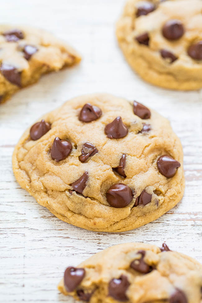 close up of Soft Chocolate Chip Cookie