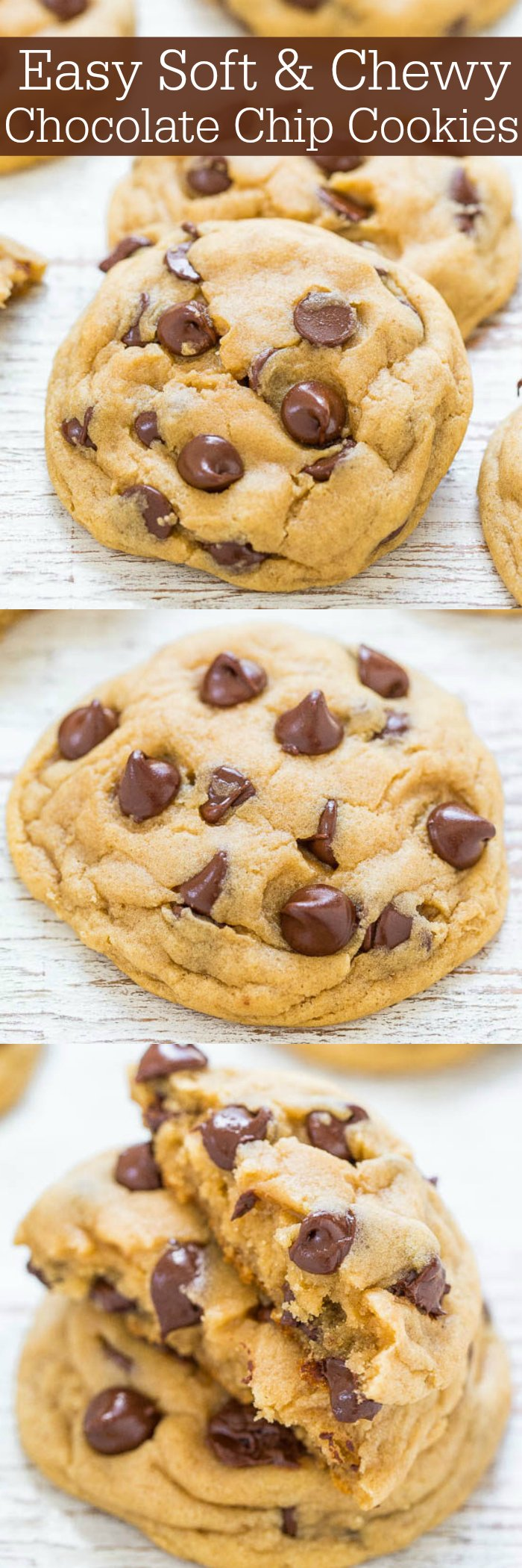 These soft chocolate chip cookies are studded with chocolate chips! My secret ingredient? Cornstarch! It produces the most incredible cookies, trust me. #cookies #cookierecipe #chocolatechip