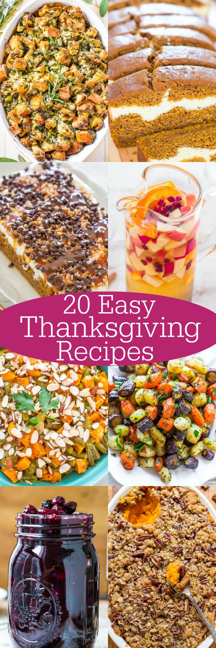 20 Easy Thanksgiving Recipes - Turkey may be the star of the show but these sides, drinks, and desserts will give the bird a run for its money!! Easy, tried-and-true crowd favorites that you need to put on your holiday menu!!