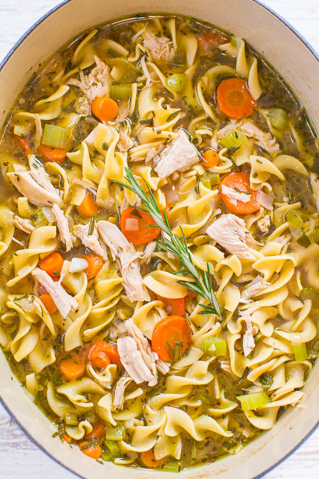 Overhead shot of Easy 30-Minute Turkey Noodle Soup in a pot