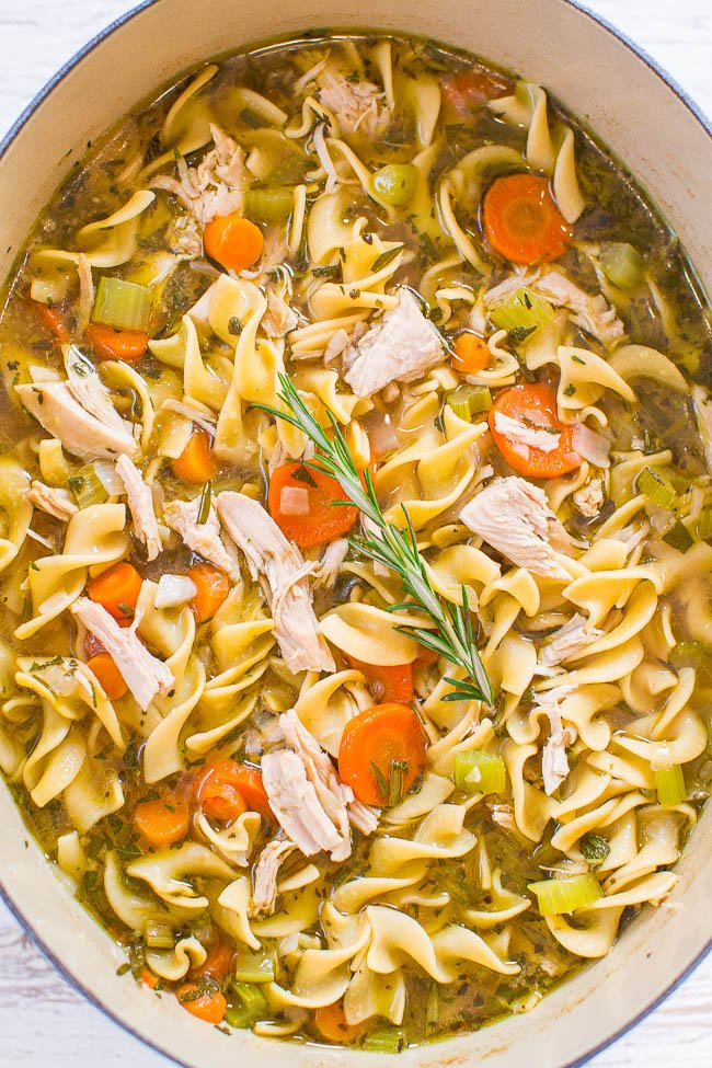 large dutch oven filled with turkey soup