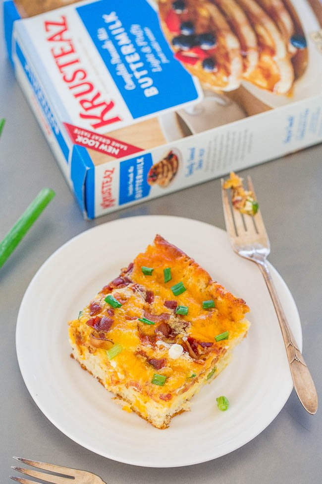 slice of breakfast casserole with bacon next to bow of krusteaz pancake mix