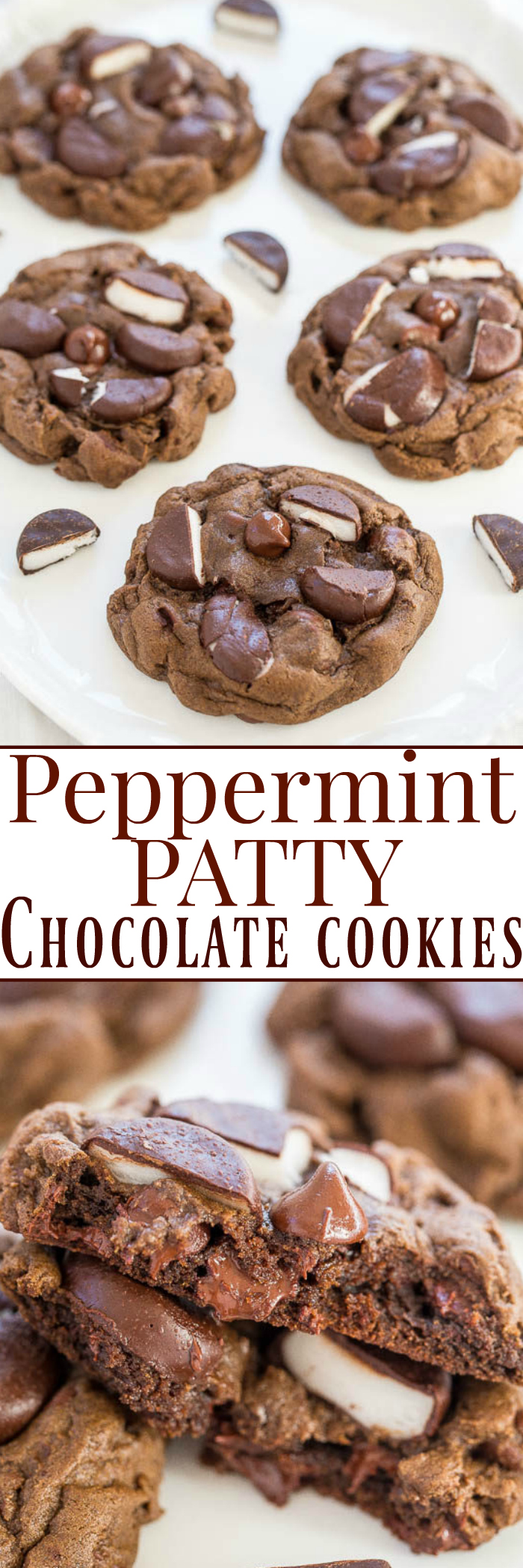 Peppermint Patty Chocolate Cookies - Very chocolaty, ultra FUDGY, and loaded with chocolate chips and peppermint patties!! If you love mint + chocolate, you'll adore these easy, soft, and decadent chocolate bombs!!