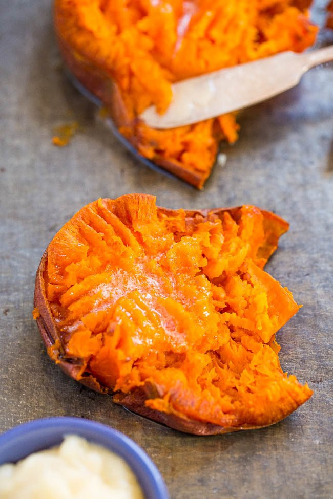 Honey Butter Smashed Sweet Potatoes - Soft, tender potatoes with crispy skin and the most HEAVENLY melted honey butter on top!! EASY comfort food that's a perfect side dish anytime!!