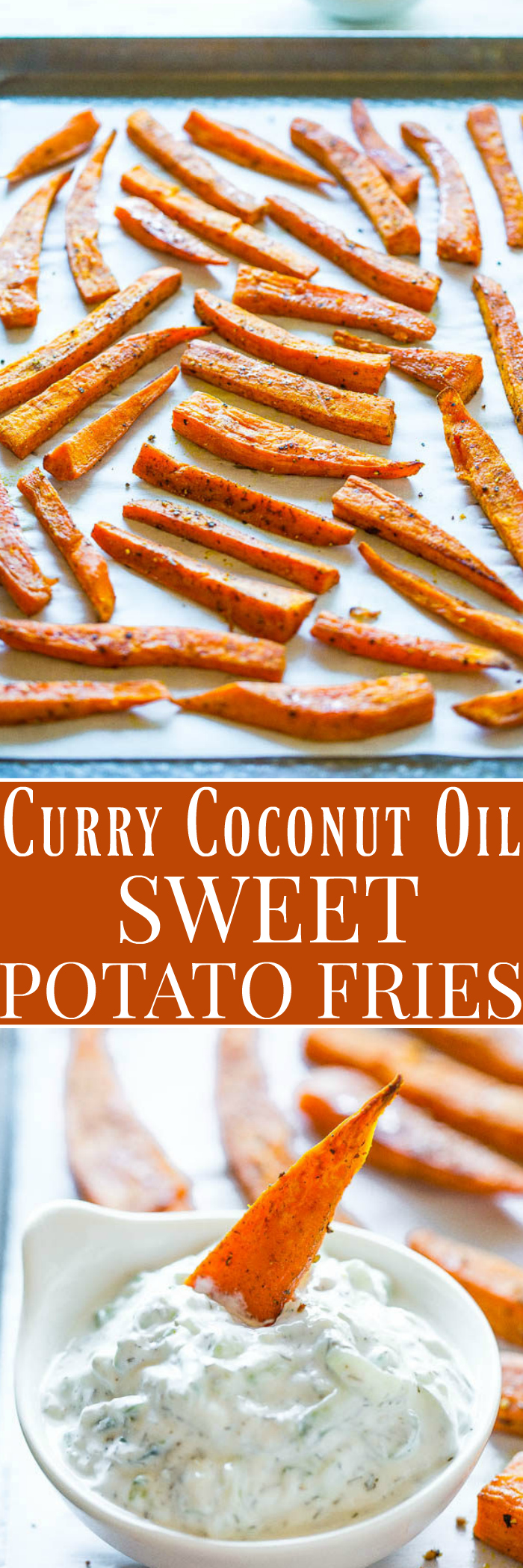 Curry Coconut Oil Sweet Potato Fries with Cucumber Dill Dip - A fast and flavorful twist on sweet potatoes!! The warming notes of the curry are perfectly offset by the cooling dip! Comfort food that's HEALTHY and EASY!!