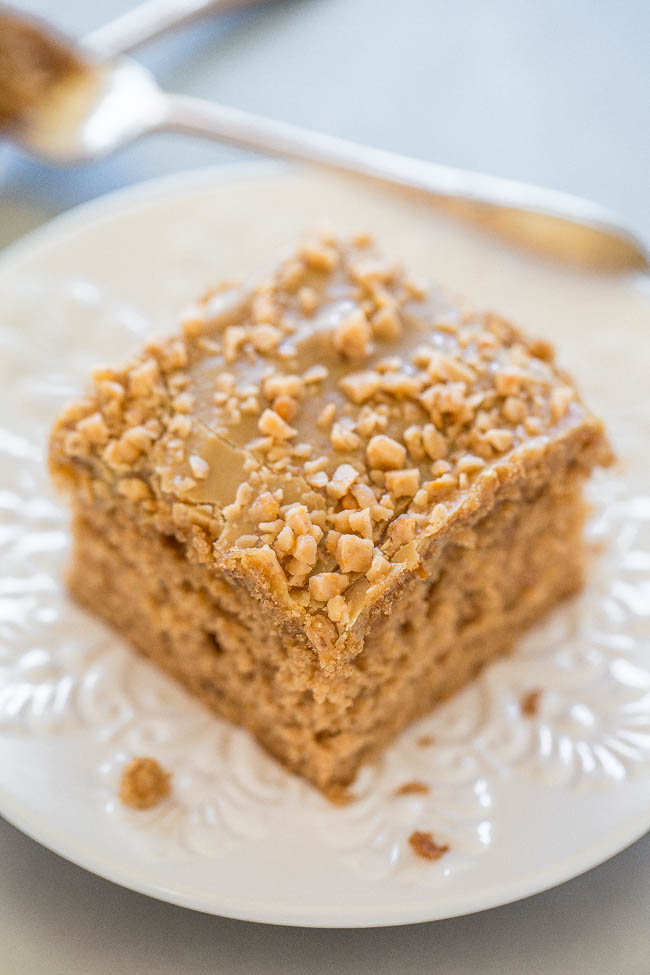 Spiced Toffee Cake with Brown Sugar Frosting — Looking for recipes using spice cake mix? Make this spiced toffee cake! It's an EASY, soft, and fluffy spice cake with toffee bits inside and on top!! The frosting is AMAZING and takes this cake over the top!!
