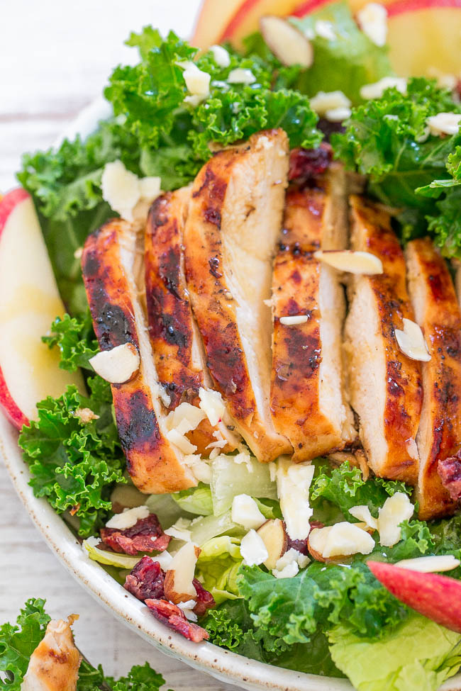 close up view of a cranberry almond grilled chicken salad