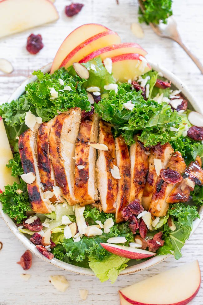 overhead view of grilled chicken salad in a white dish. Apple slices and dried cranberries are scattered around it.