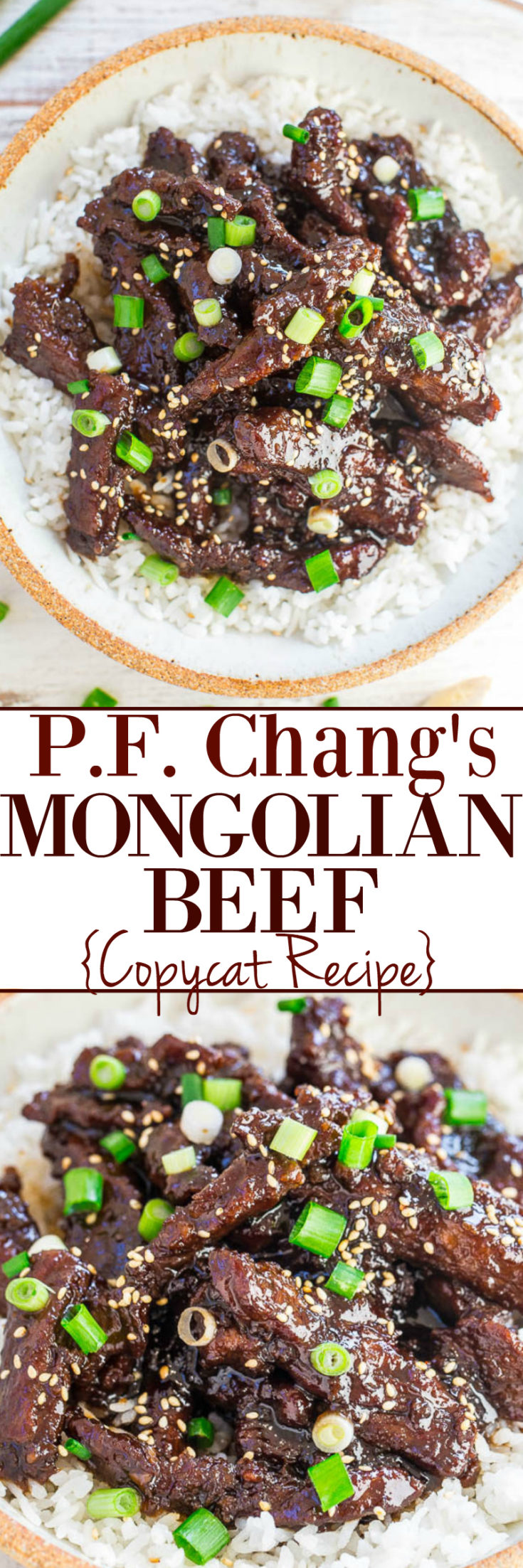 This copycat P.F. Change's Mongolian Beef recipe comes together in 20 minutes and makes for a great weeknight meal! It's quick, easy, and delicious! #pfchangs #copycat #copycatrecipe #asian #asianrecipe #mongoian #beef #easyrecipe