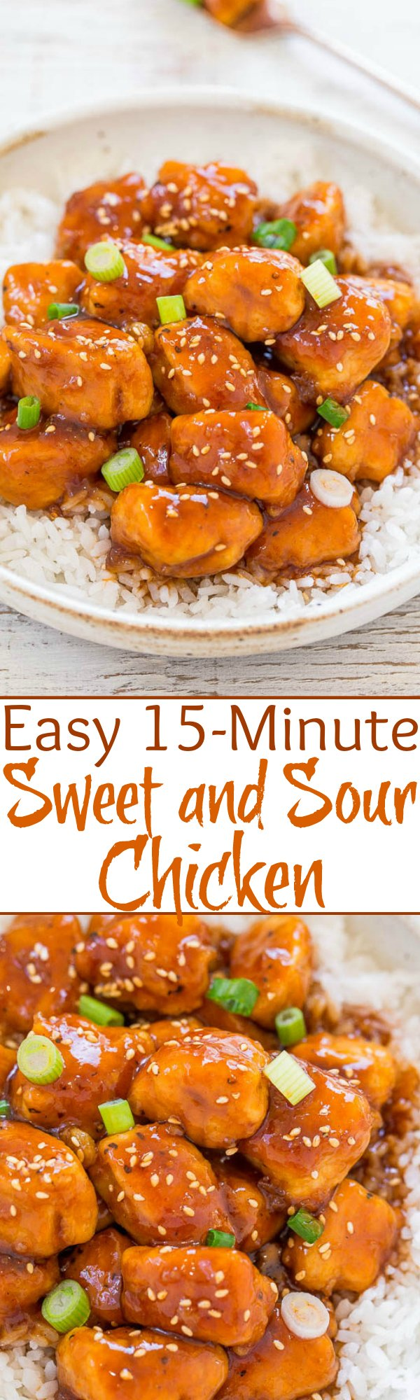 Easy 15-Minute Sweet and Sour Chicken - Faster, easier, healthier, and tastes BETTER than takeout or a restaurant!! Perfect balance of sweet yet sour Asian flavors that the whole family will LOVE!!