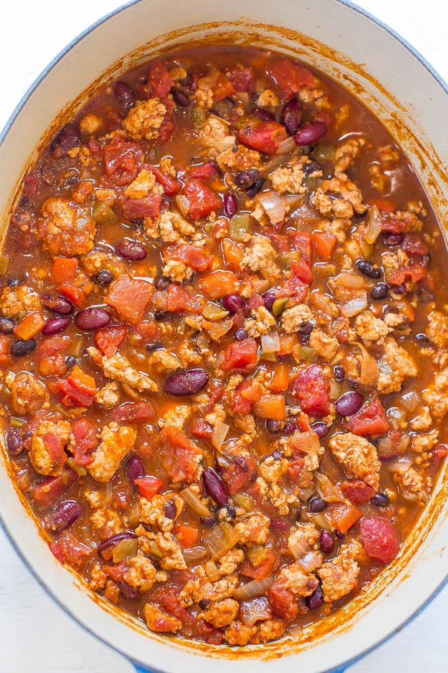 Easy Turkey Chili in large dutch oven
