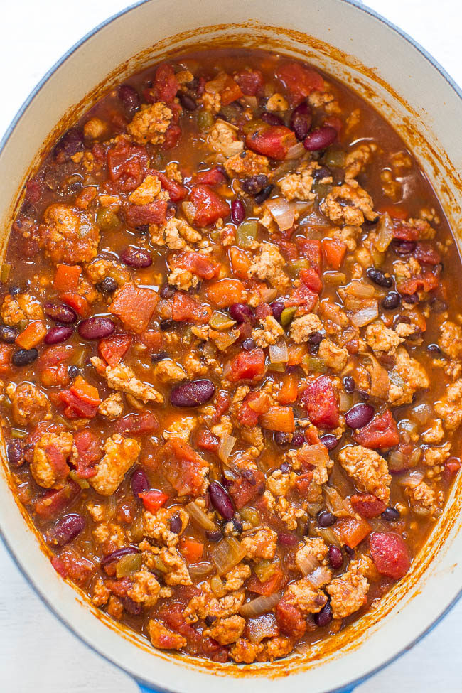 Large blue pot of Easy 30-Minute Turkey Chili
