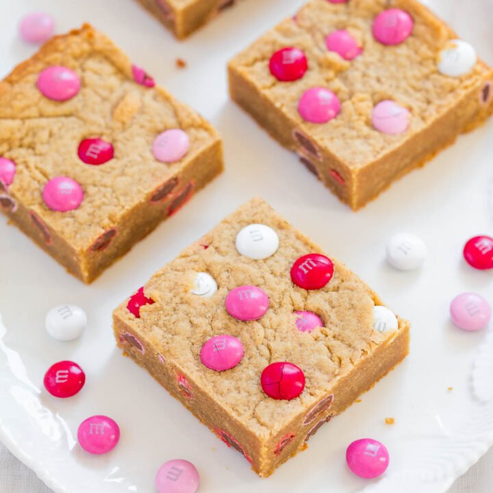 Valentine Peanut Butter Blondies with M&M's