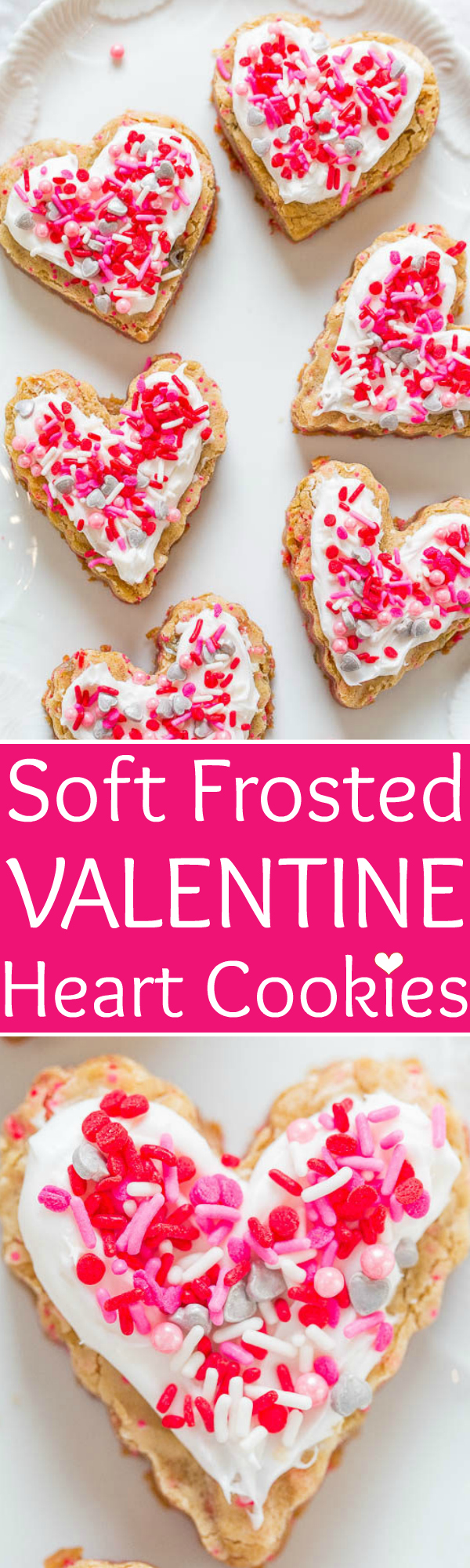 Frosted Heart Cookies — These heart cookies are soft, chewy, dense, made in one bowl, and you don't have to roll them out. The easiest Valentine's Day sugar cookies ever!