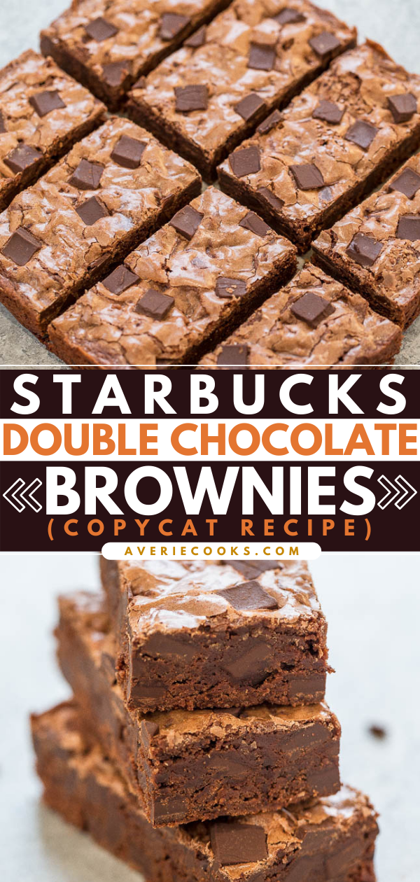 Copycat Starbucks Double Chocolate Brownies— The brownies are rich, fudgy, not cakey, perfectly chewy, and so easy to make. One bowl, no mixer, and studded with chocolate chunks!