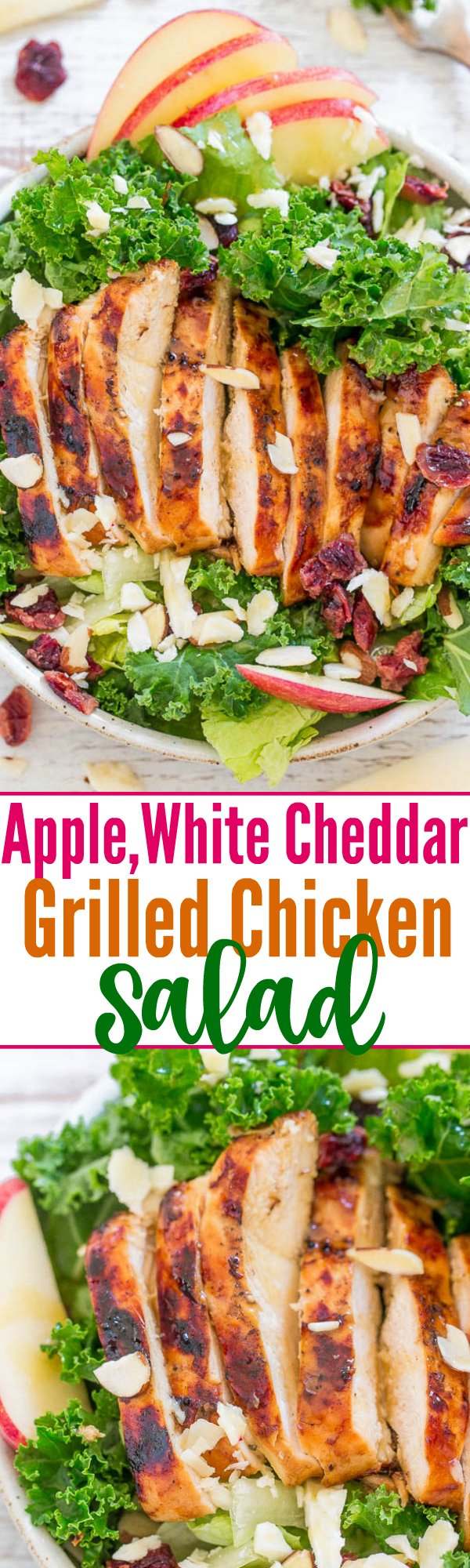 Two picture collage of apple, white cheddar and grilled chicken salad with graphic