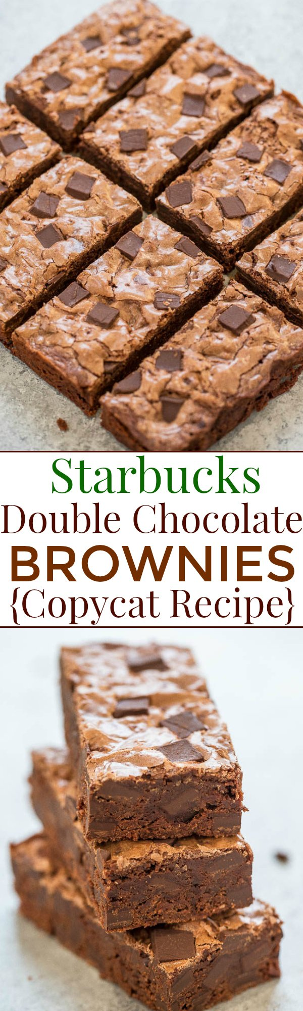 Two picture collage of Starbucks double chocolate brownies with graphic