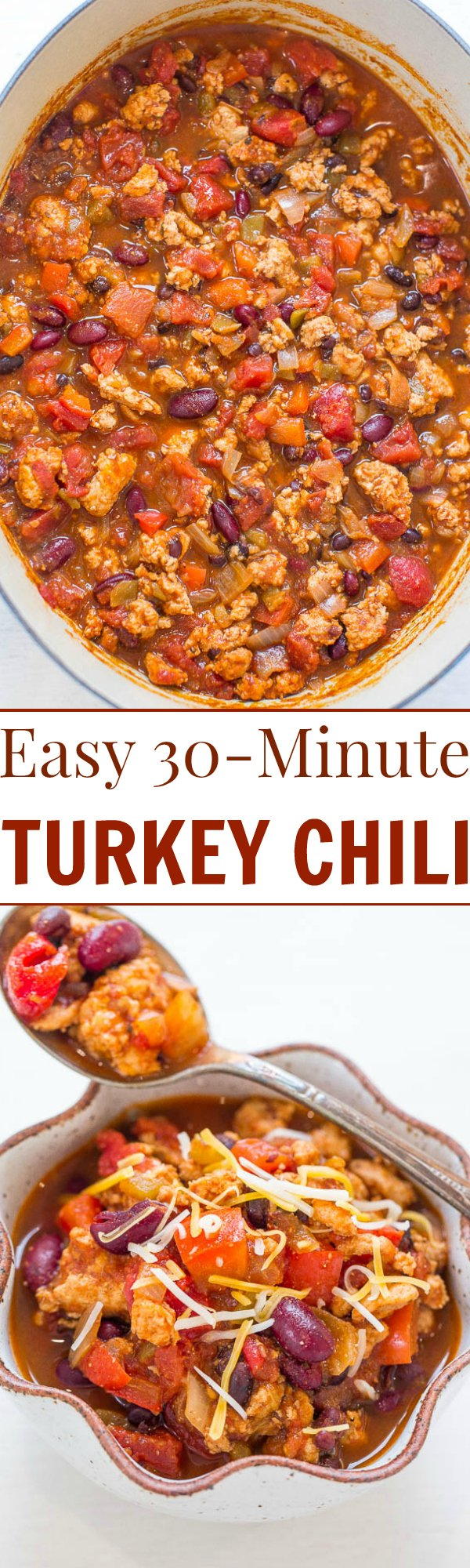 The BEST Healthy Turkey Chili— This easy turkey chili recipe comes together in just 30 minutes! It's packed with flavor and is perfect for busy weeknight dinners.