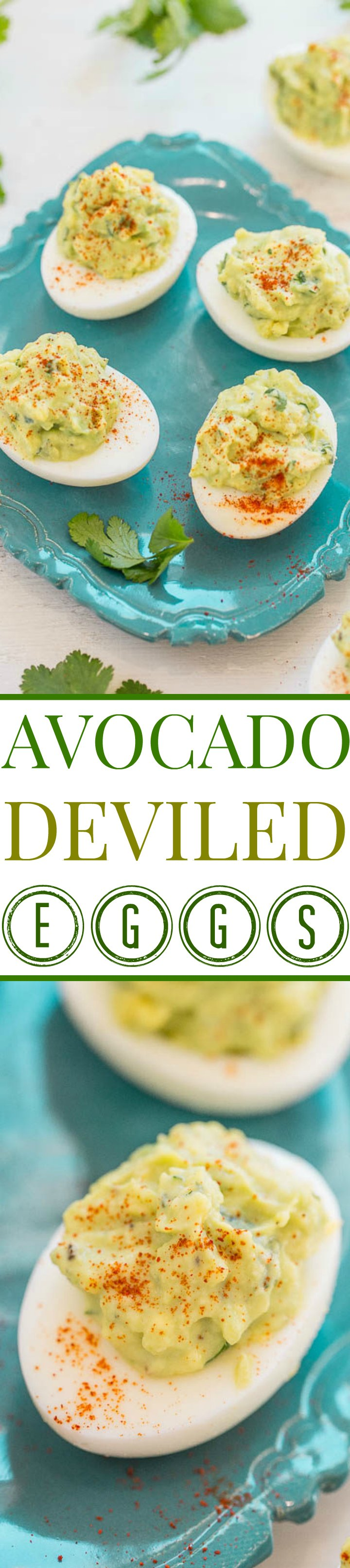 Avocado deviled eggs two picture collage with graphic title