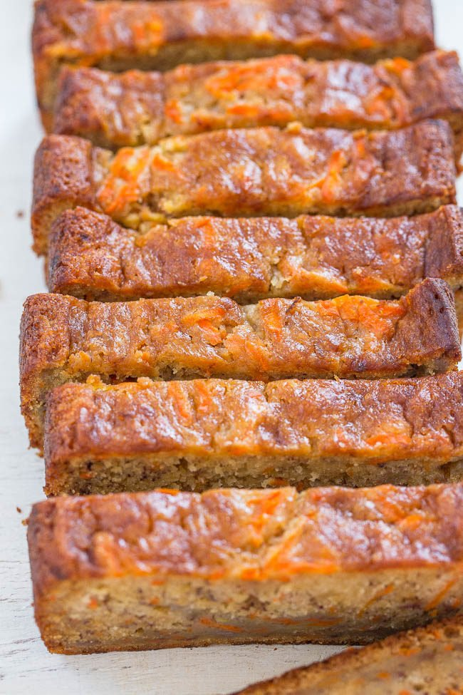 A sliced loaf of Carrot Banana Bread