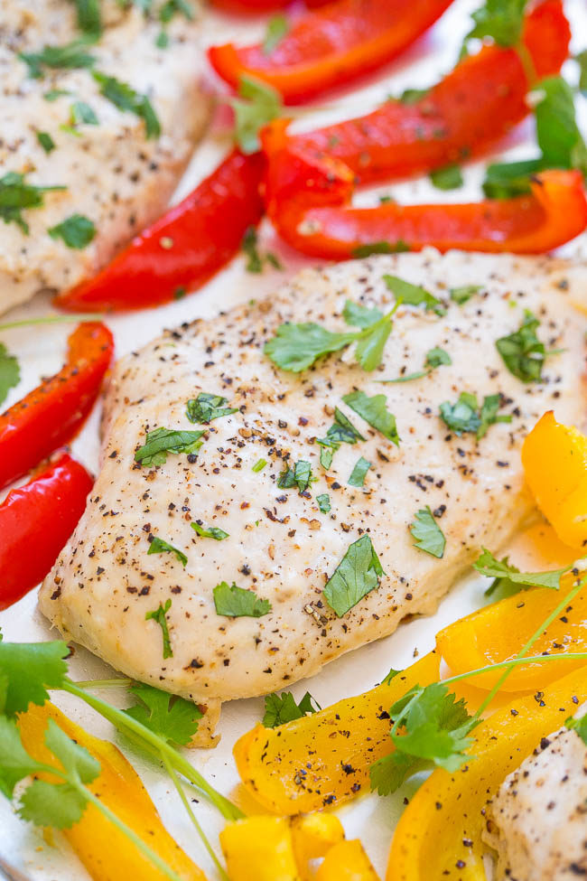 A sheet pan of chili lime ranch chicken with peppers