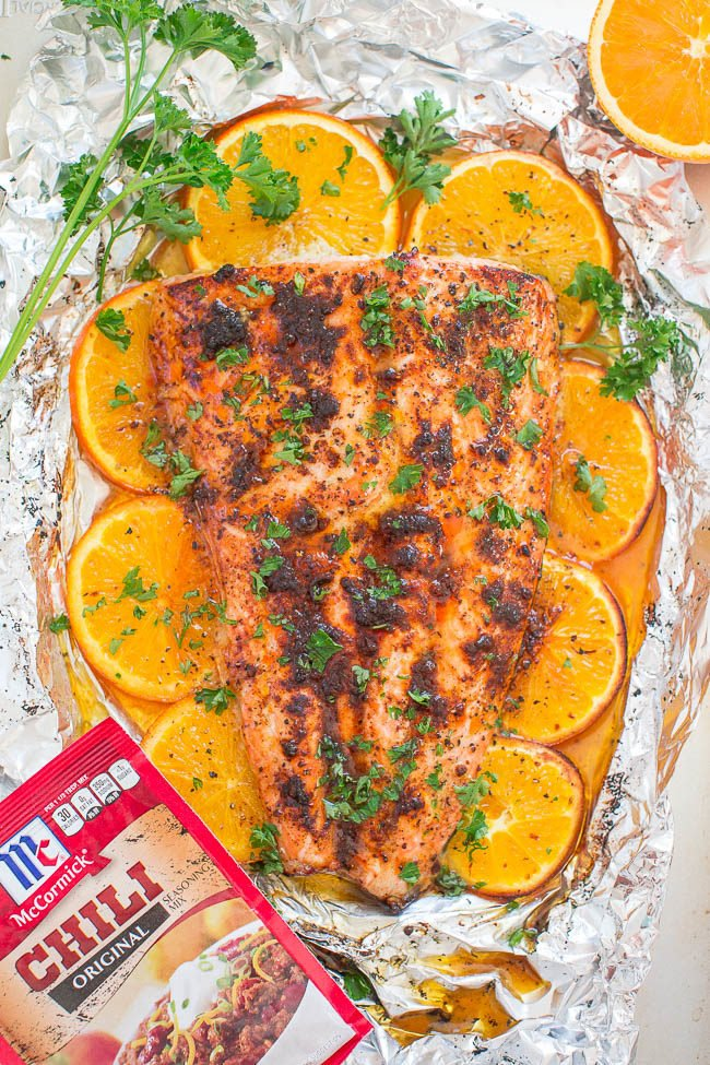 Sheet Pan Orange Chili Salmon - Make restaurant-quality salmon at home in 30 minutes!! EASY and packed with so much FLAVOR from orange juice, honey, and chili seasoning!!