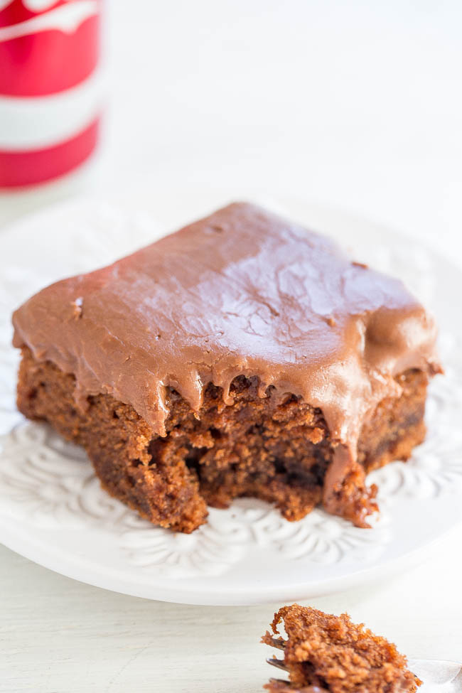 Coca-Cola Cake — One can of Coke in the cake and another can of Coke in the frosting!! EASY no-mixer cake that's supremely moist! Tastes like a Texas sheet cake spiked with Coke!!