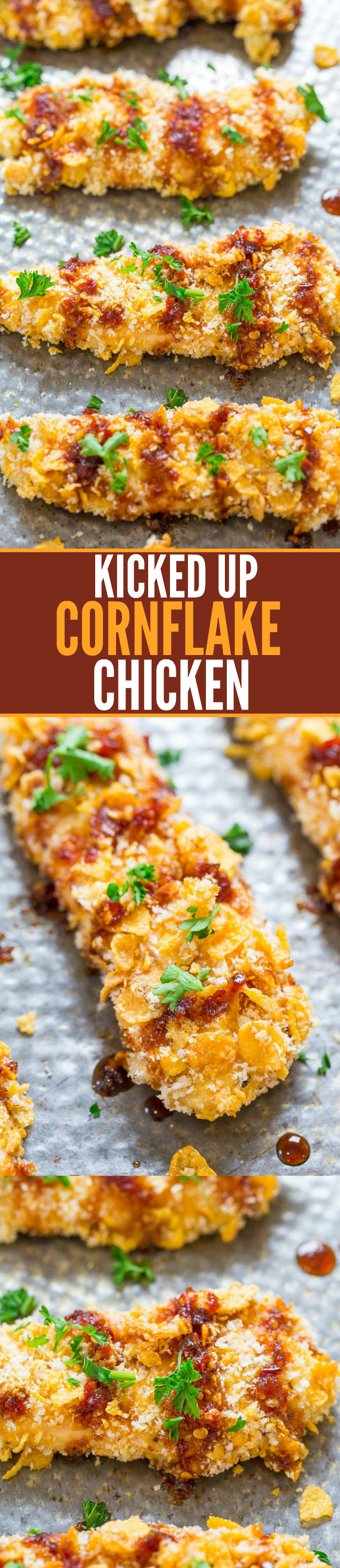 Two picture collage of Kicked Up Cornflake Chicken with graphic title
