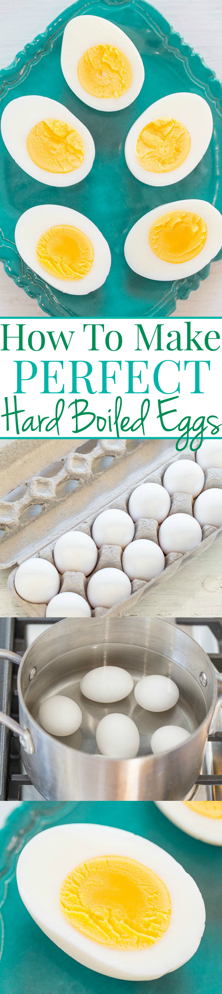 Four picture collage of how to make hard boiled eggs with graphic