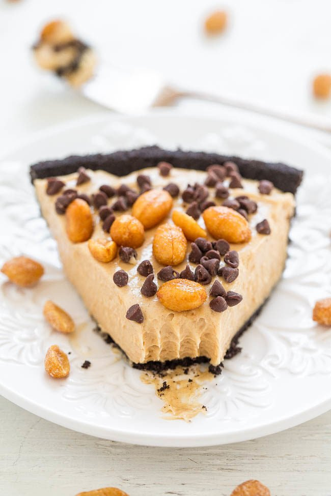 Slice of No-Bake Peanut Butter Oreo Silk Pie on a white plate
