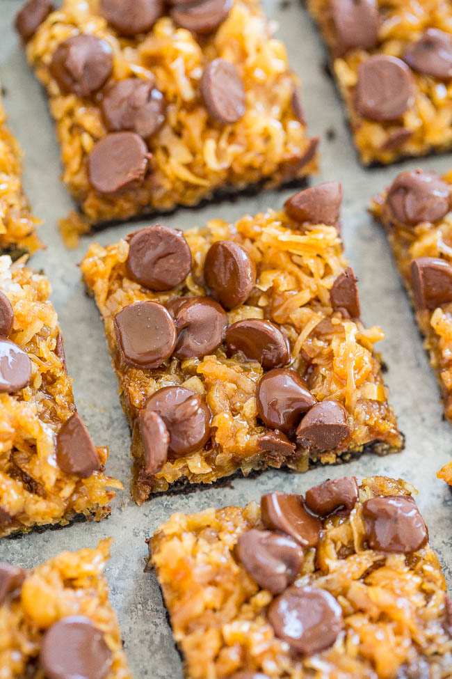 Overhead shot of Better-Than-Girl-Scout Samoas Cookie Bars on a sheet pan