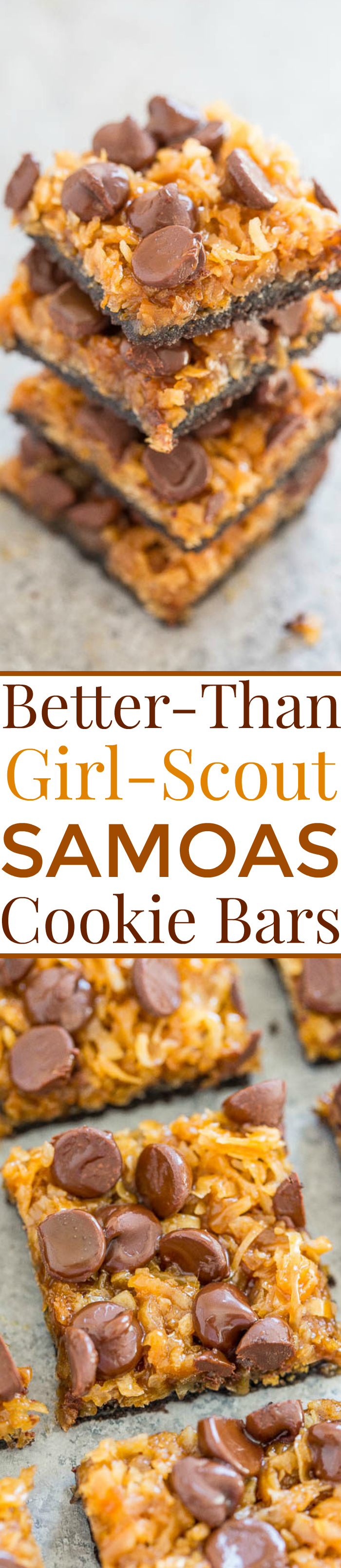 Two picture collage of Better-Than-Girl-Scout Samoas Cookie Bars with graphic title
