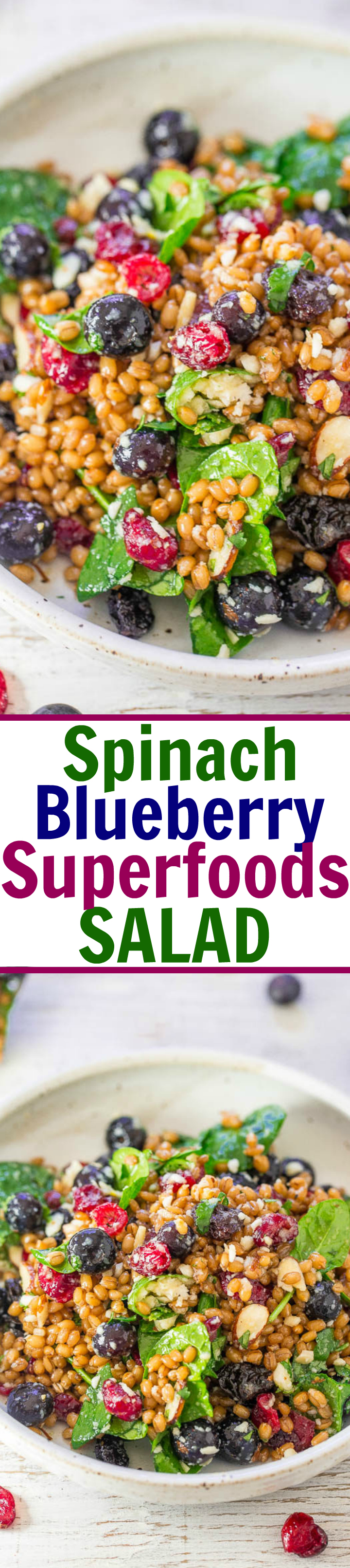 Spinach Blueberry Superfoods Salad - So many textures and flavors in this hearty salad filled with SUPERFOODS!! Spinach, blueberries, dried cranberries, almonds, and more! EASY, satisfying, healthy, and tastes amazing!!