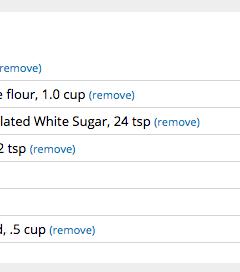 Screenshot of recipe ingredients