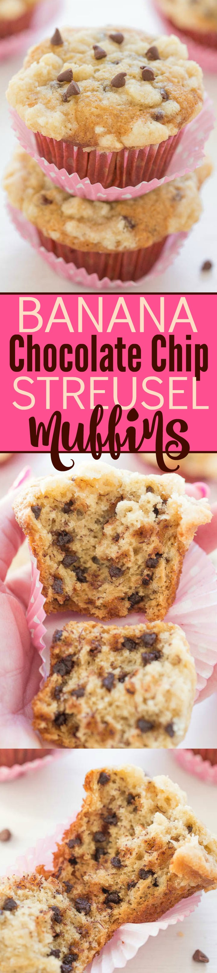 Banana Chocolate Chip Streusel Muffins Collage
