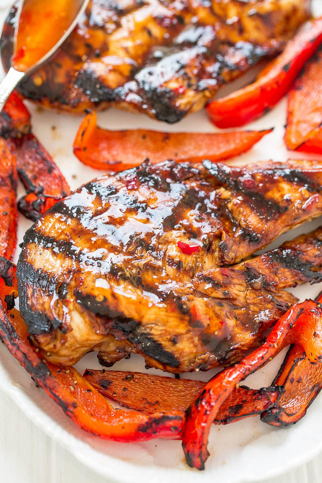 Sweet Chili Grilled Chicken on a white plate