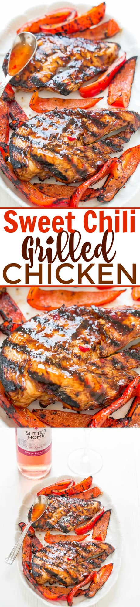 Grilled Sweet Chili Chicken — Tender, juicy, and full of FLAVOR from the sweet chili sauce!! EASY, healthy, ready in 10 minutes, zero cleanup, perfect for backyard barbecues or easy weeknight dinners!!