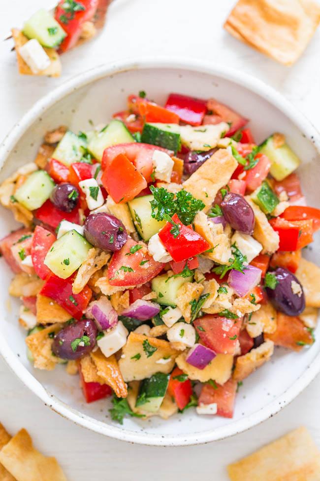 overhead view of chopped greek salad