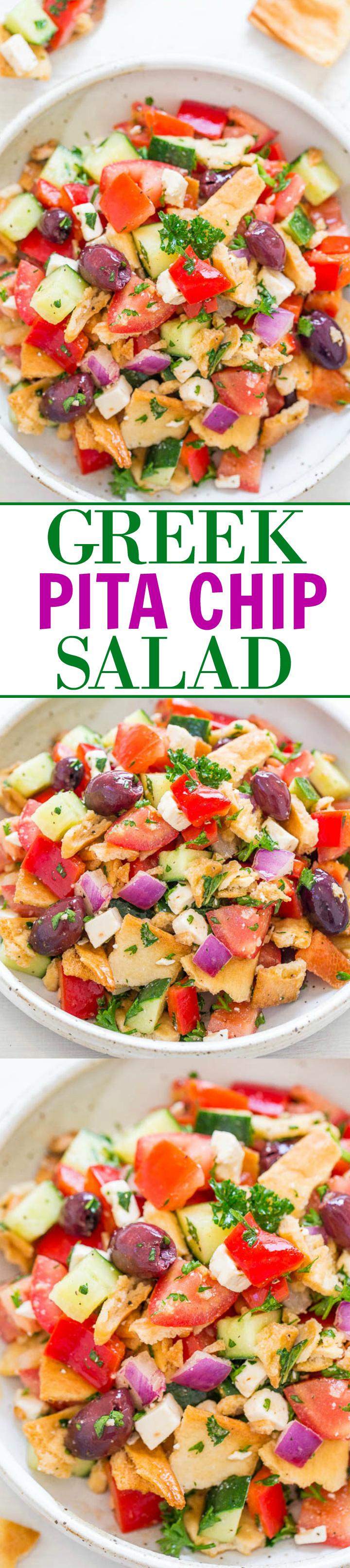 Greek Pita Chip Salad - Greek salad just got a makeover!! Still uses classic ingredients like red peppers, cucumbers, onions, olives, and feta but now there are PITA CHIPS for extra crunch and texture! EASY, HEALTHY, ready in 10 minutes!!