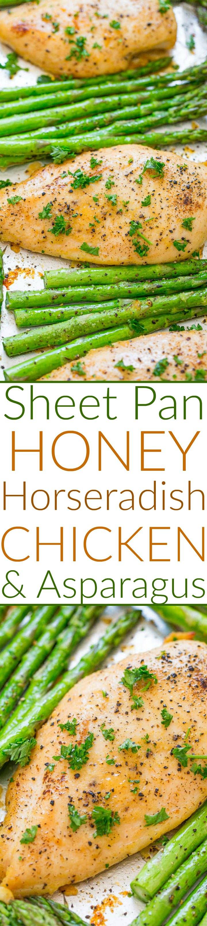 Honey Horseradish Sheet Pan Chicken and Asparagus — The perfect balance of sweet honey with spicy horseradish in this EASY, HEALTHY recipe that's ready in 30 minutes!! Juicy chicken with crisp-tender asparagus for the win!!