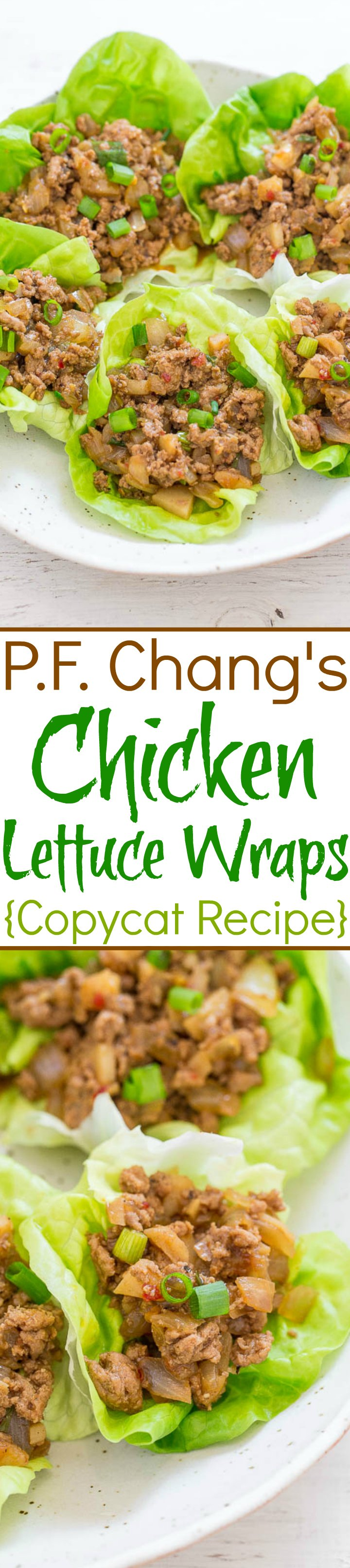 Two picture of PF Chang's chicken lettuce wrap with graphic title