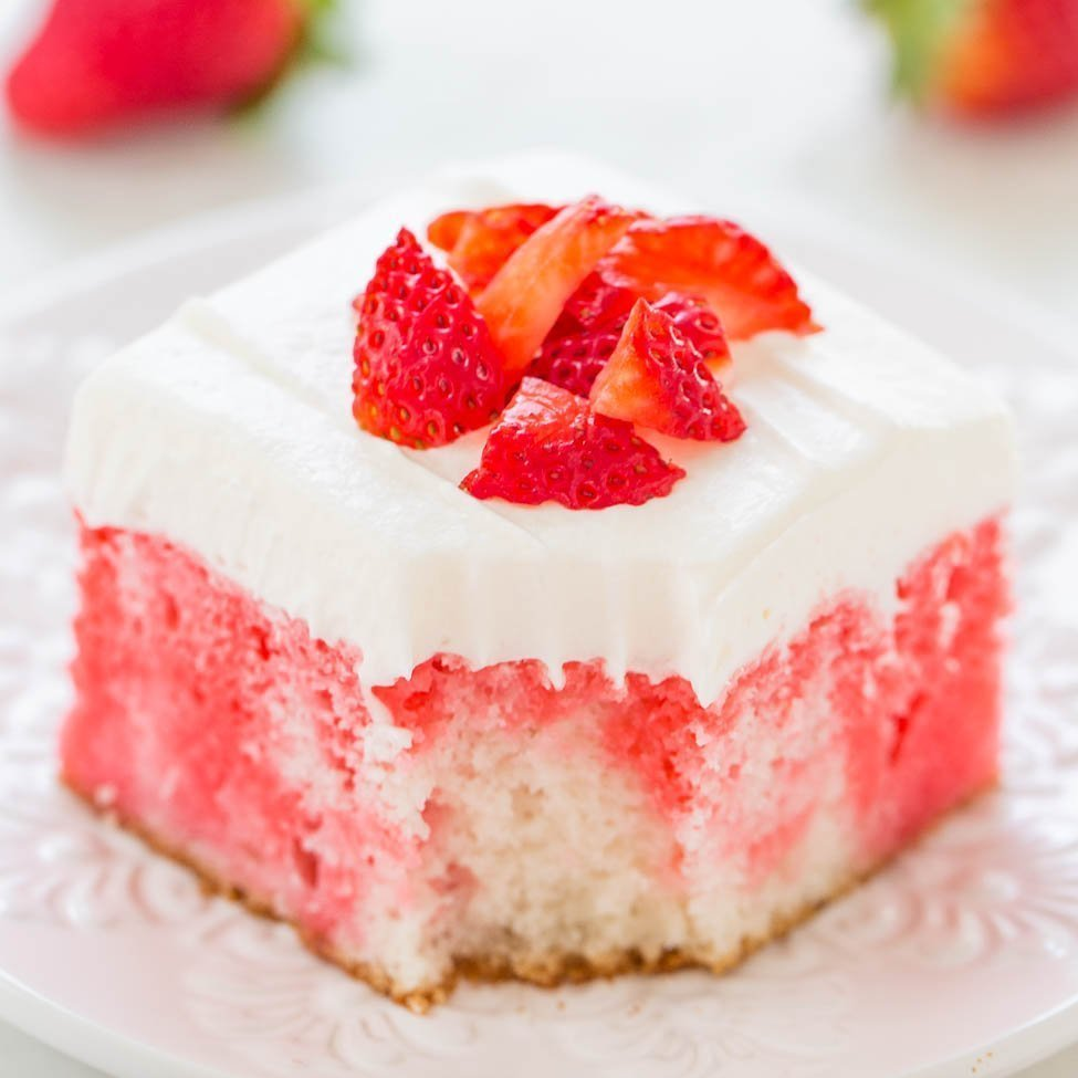 Strawberries And Cream Poke Cake Averie Cooks