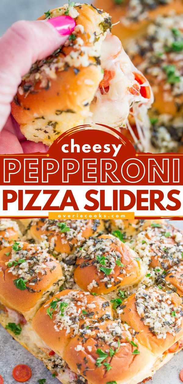 Pepperoni Pizza Sliders — Pizza by way of supremely cheesy sliders!! EASY, ready in 15 minutes, and perfect for parties because everyone LOVES them! Totally IRRESISTIBLE!!