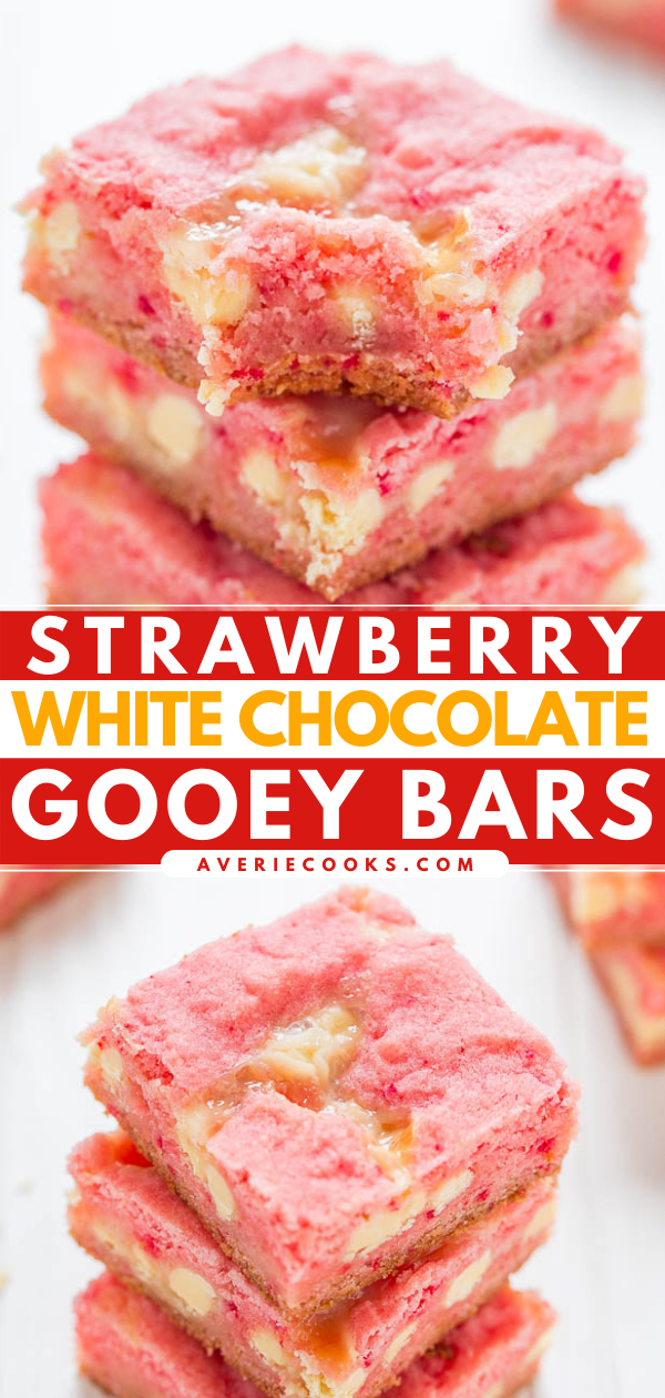 Gooey Strawberry Cake Mix Brownies — An EASY five-ingredient recipe for soft and chewy strawberry bars studded with white chocolate chips and spiked with sweetened condensed milk for the GOOEY win!!