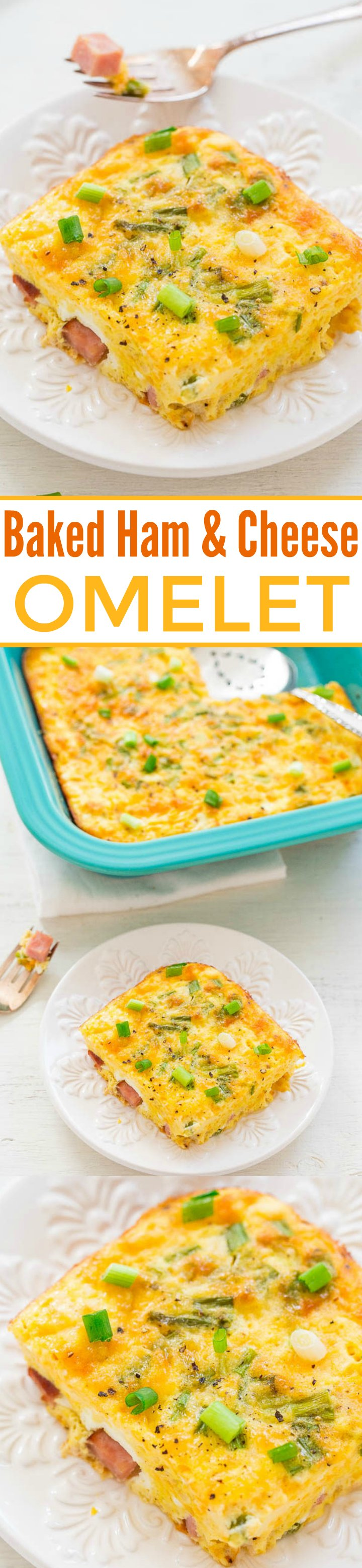 Baked Ham and Cheese Omelet - No more babysitting omelets at the stove!! Pop this into the oven and go sit down and relax! EASY, delish, and perfect for leisurely weekends, holiday brunches, or breakfast-for-dinner!!