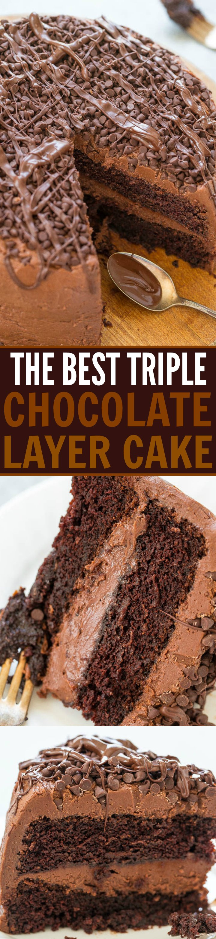 The Best Triple Chocolate Layer Cake - Rich, intense, and everything you crave in DECADENT chocolate cake!! Along with tender chocolate cake there's chocolate cream cheese frosting, chocolate chips, and melted chocolate!!