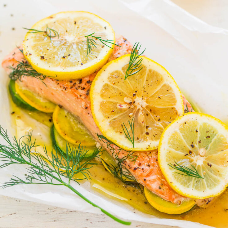 Lemon Dill Salmon with Vegetables in Parchment
