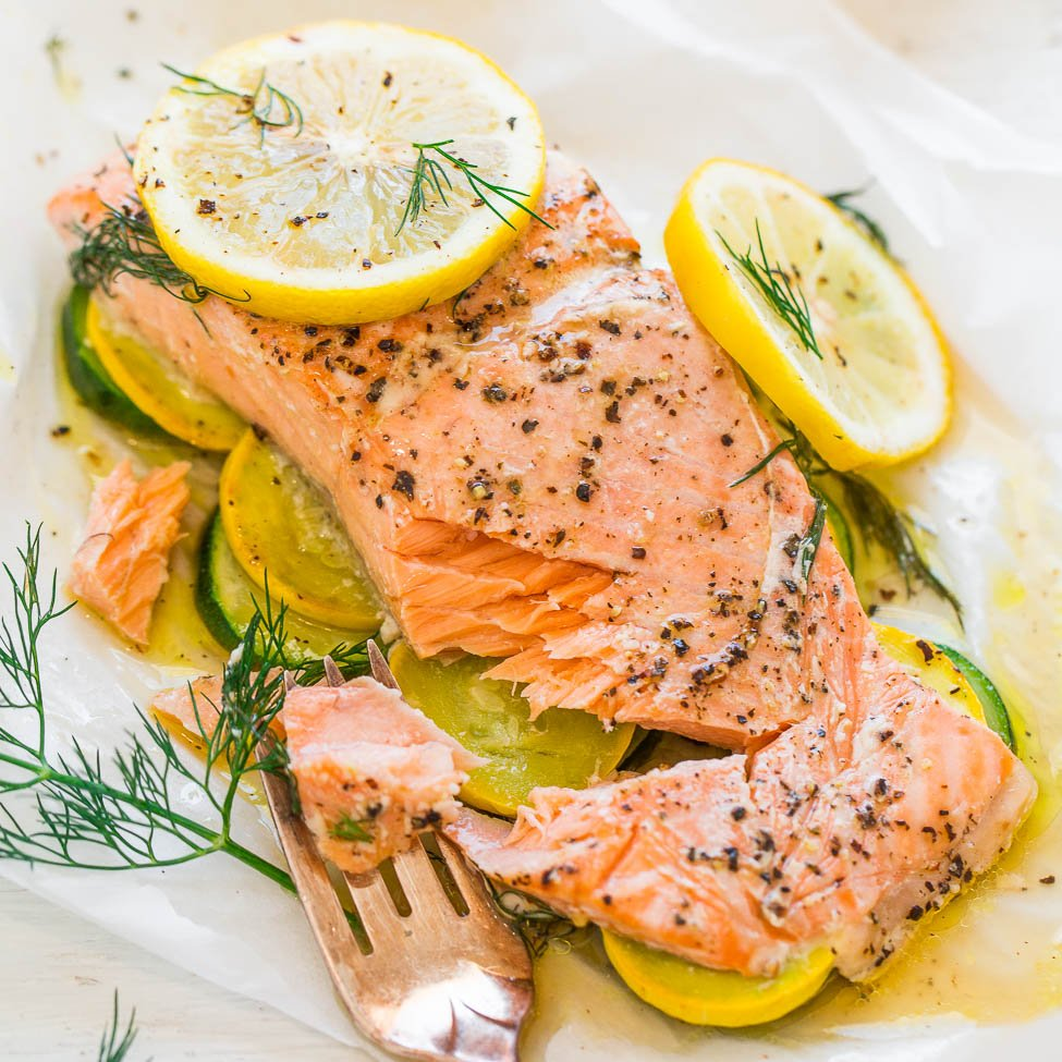 Lemon Dill Salmon With Vegetables In Parchment Averie Cooks