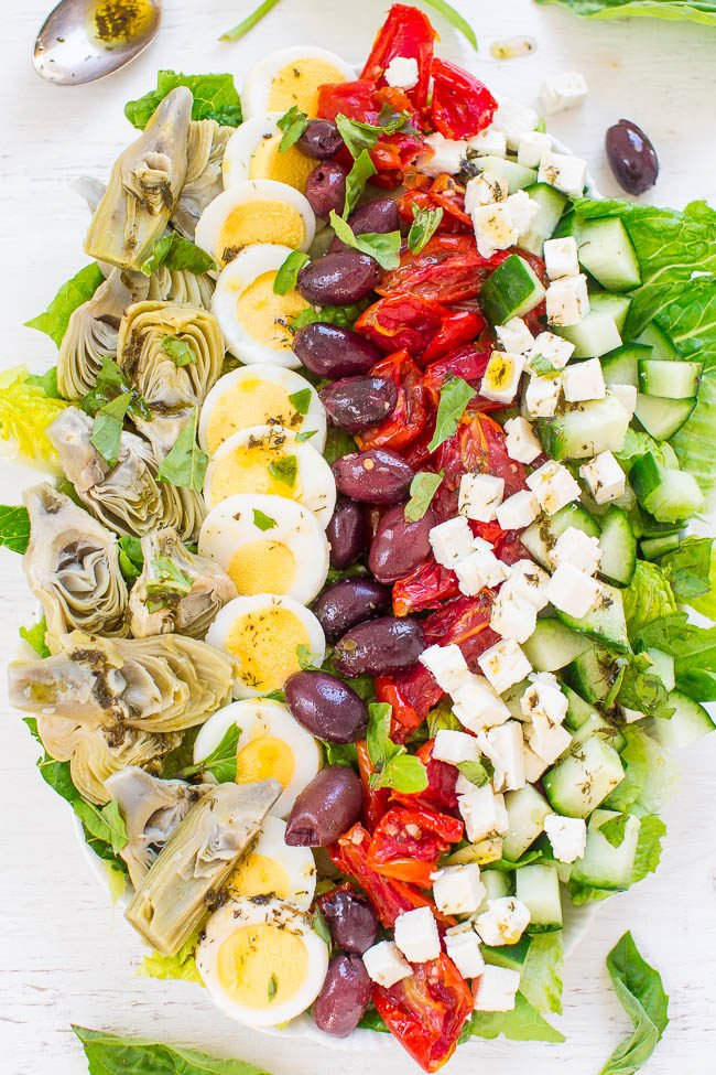 Overhead shot of Mediterranean Cobb Salad