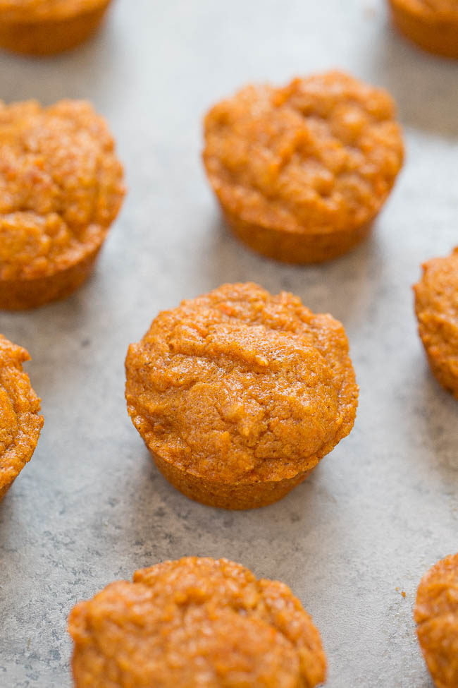 Skinny Mini Sweet Potato Muffins - ONLY 64 calories each!! Soft, super moist, EASY, and picky-eater approved!! Accidentally vegan but you'd never know it because they taste AMAZING!!